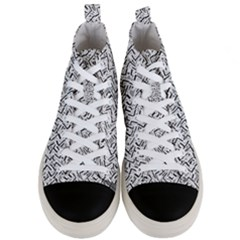 Wavy Intricate Seamless Pattern Design Men s Mid Top Canvas Sneakers