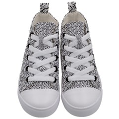Wavy Intricate Seamless Pattern Design Kid s Mid Top Canvas Sneakers