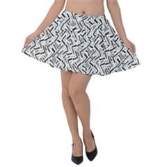 Wavy Intricate Seamless Pattern Design Velvet Skater Skirt