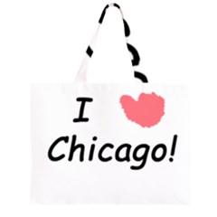 I Heart Chicago  Zipper Large Tote Bag