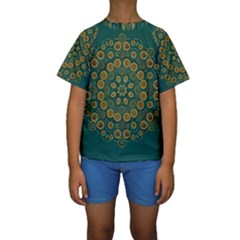 Snow Flower In A Calm Place Of Eternity And Peace Kids  Short Sleeve Swimwear