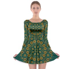 Snow Flower In A Calm Place Of Eternity And Peace Long Sleeve Skater Dress