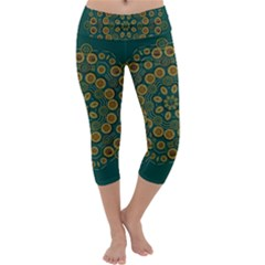 Snow Flower In A Calm Place Of Eternity And Peace Capri Yoga Leggings