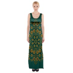Snow Flower In A Calm Place Of Eternity And Peace Maxi Thigh Split Dress
