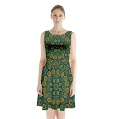 Snow Flower In A Calm Place Of Eternity And Peace Sleeveless Waist Tie Chiffon Dress