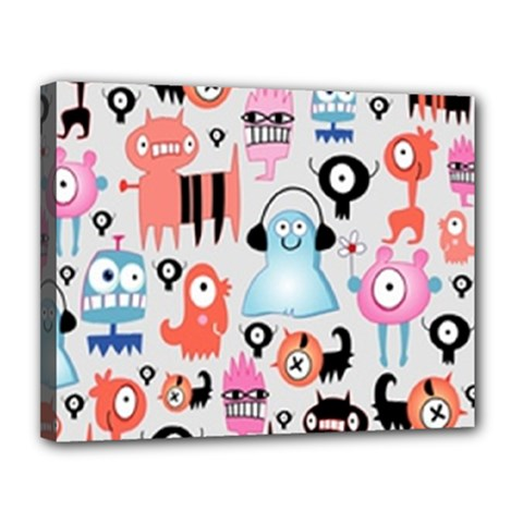 Funky Monsters Pattern Canvas 14  X 11