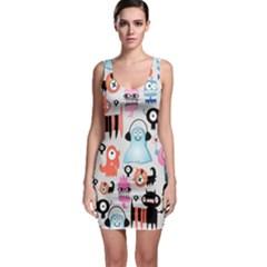 Funky Monsters Pattern Bodycon Dress