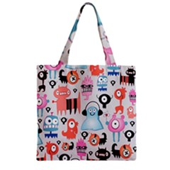 Funky Monsters Pattern Zipper Grocery Tote Bag