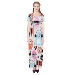 Funky Monsters Pattern Short Sleeve Maxi Dress