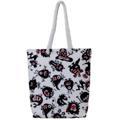 Goofy Monsters Pattern  Full Print Rope Handle Tote (small)