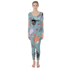 Little Round Animal Friends Long Sleeve Catsuit