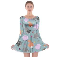 Little Round Animal Friends Long Sleeve Skater Dress