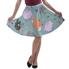 Little Round Animal Friends A Line Skater Skirt