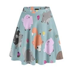 Little Round Animal Friends High Waist Skirt