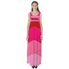 Geometric Shapes Magenta Pink Rose Empire Waist Maxi Dress