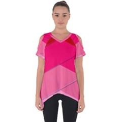 Geometric Shapes Magenta Pink Rose Cut Out Side Drop Tee