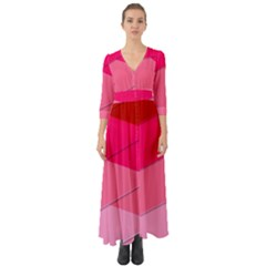 Geometric Shapes Magenta Pink Rose Button Up Boho Maxi Dress