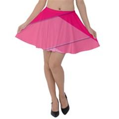 Geometric Shapes Magenta Pink Rose Velvet Skater Skirt