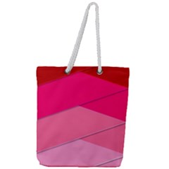 Geometric Shapes Magenta Pink Rose Full Print Rope Handle Tote (large)