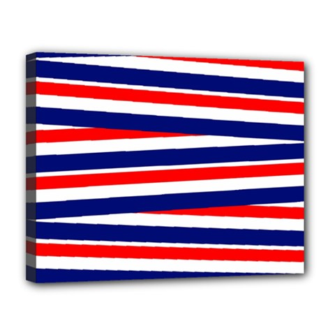 Red White Blue Patriotic Ribbons Canvas 14  X 11