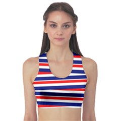 Red White Blue Patriotic Ribbons Sports Bra