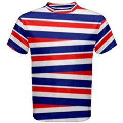 Red White Blue Patriotic Ribbons Men s Cotton Tee