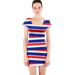 Red White Blue Patriotic Ribbons Short Sleeve Bodycon Dress