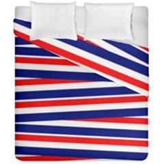 Red White Blue Patriotic Ribbons Duvet Cover Double Side (california King Size)