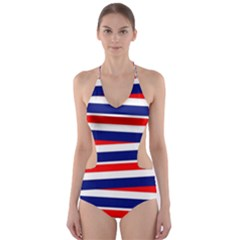 Red White Blue Patriotic Ribbons Cut Out One Piece Swimsuit