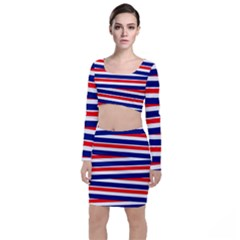 Red White Blue Patriotic Ribbons Long Sleeve Crop Top & Bodycon Skirt Set