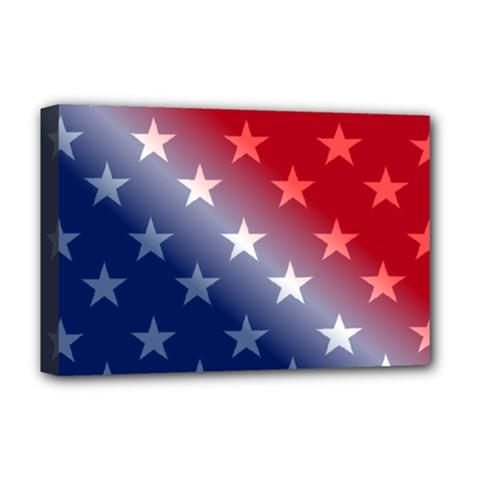 America Patriotic Red White Blue Deluxe Canvas 18  X 12