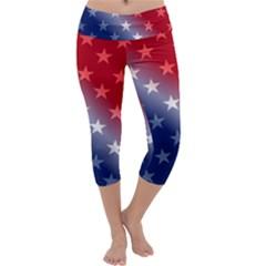America Patriotic Red White Blue Capri Yoga Leggings