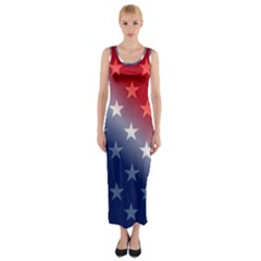 America Patriotic Red White Blue Fitted Maxi Dress