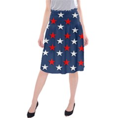 Patriotic Colors America Usa Red Midi Beach Skirt