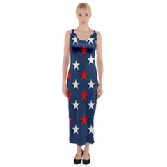 Patriotic Colors America Usa Red Fitted Maxi Dress