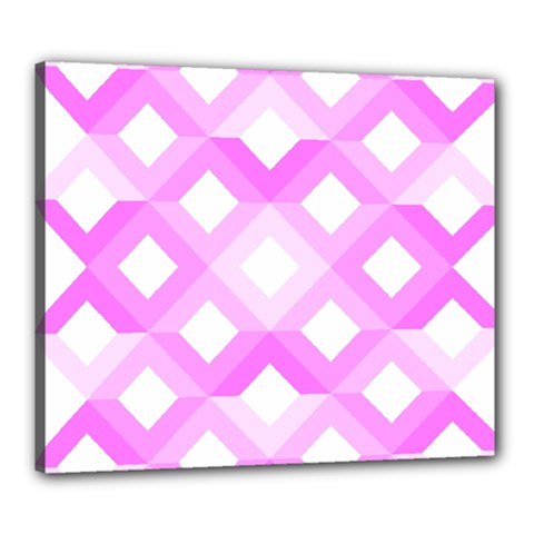 Geometric Chevrons Angles Pink Canvas 24  X 20