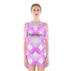 Geometric Chevrons Angles Pink Shoulder Cutout One Piece