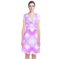 Geometric Chevrons Angles Pink Short Sleeve Front Wrap Dress