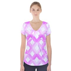 Geometric Chevrons Angles Pink Short Sleeve Front Detail Top