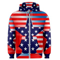 Patriotic American Usa Design Red Men s Zipper Hoodie