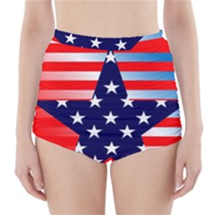Patriotic American Usa Design Red High Waisted Bikini Bottoms