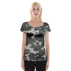 Camouflage Pattern Disguise Army Cap Sleeve Tops