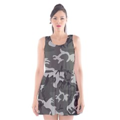 Camouflage Pattern Disguise Army Scoop Neck Skater Dress