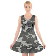 Camouflage Pattern Disguise Army V Neck Sleeveless Skater Dress