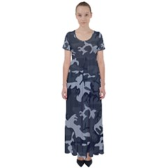 Camouflage Pattern Disguise Army High Waist Short Sleeve Maxi Dress