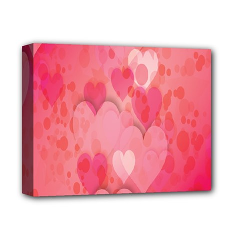 Pink Hearts Pattern Deluxe Canvas 14  X 11