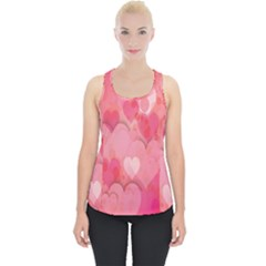 Pink Hearts Pattern Piece Up Tank Top