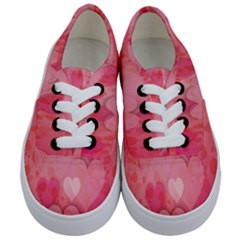 Pink Hearts Pattern Kids  Classic Low Top Sneakers