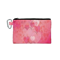 Pink Hearts Pattern Canvas Cosmetic Bag (small)