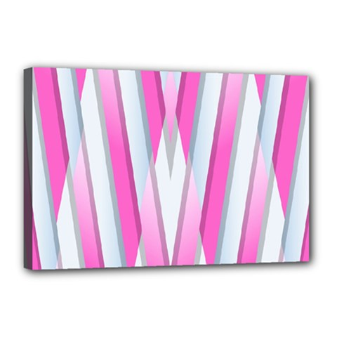 Geometric 3d Design Pattern Pink Canvas 18  X 12